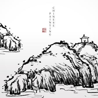 Aquarel inkt verf kunst textuur illustratie landschap van stenen rotsheuvel en paviljoen op de top.
