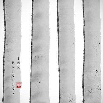 Aquarel inkt verf kunst vector textuur illustratie elegante grijze strip achtergrond.