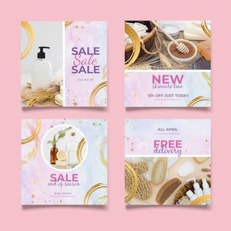 Aquarel instagram verkoop post collectie