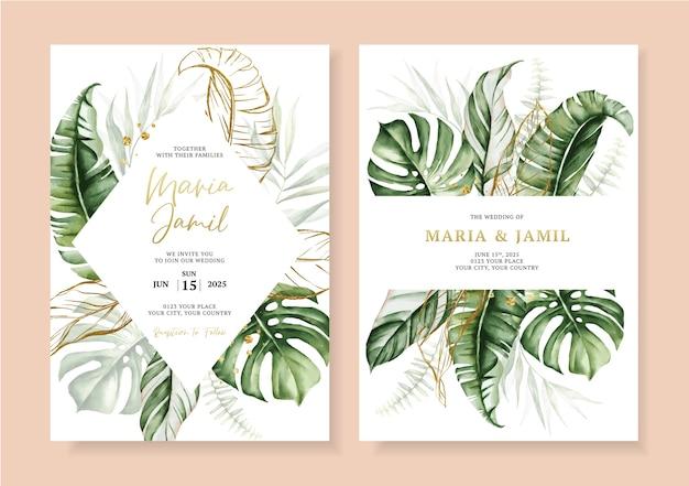 Aquarel instellen bruiloft uitnodiging kaartsjabloon ontwerp met tropische bladeren en bladgoud