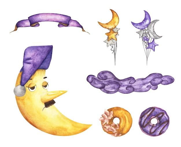 Aquarel instellen. halve maan, lint, ballon, wolken en donut. geel en paars concept.