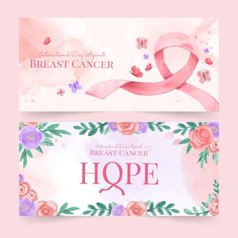 Aquarel internationale dag tegen borstkanker banners set