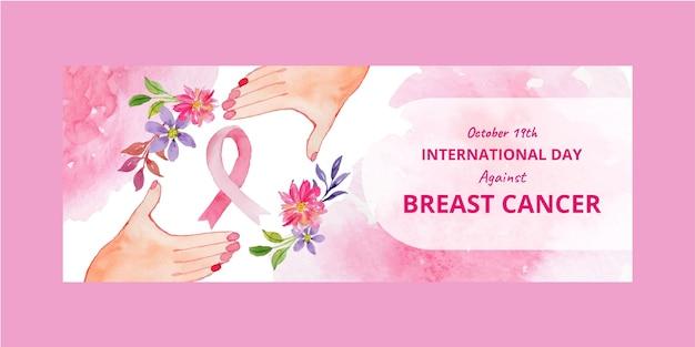 Aquarel internationale dag tegen borstkanker sociale media voorbladsjabloon