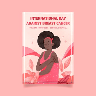 Aquarel internationale dag tegen borstkanker verticale flyer-sjabloon