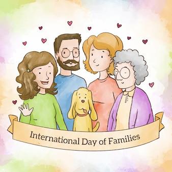 Aquarel internationale dag van gezinnen