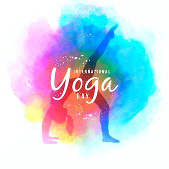 Aquarel internationale dag van yoga achtergrond