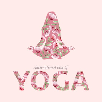 Aquarel internationale dag van yoga