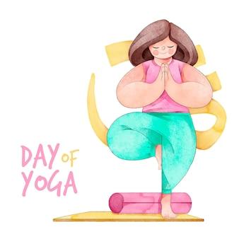 Aquarel internationale dag van yoga