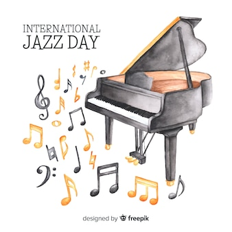 Aquarel internationale jazz dag achtergrond
