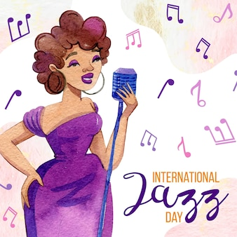 Aquarel internationale jazz dag illustratie