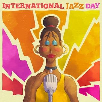 Aquarel internationale jazz dag illustratie