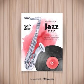 Aquarel internationale jazz dag poster sjabloon