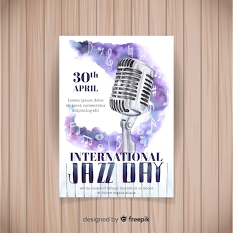 Aquarel internationale jazz dag poster sjabloon