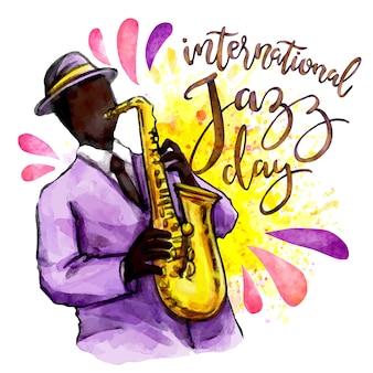 Aquarel internationale jazzdag met man saxofoon spelen