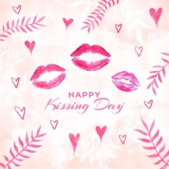 Aquarel internationale kussende dag illustratie