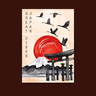 Aquarel japanse briefkaartsjabloon