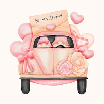 Aquarel kabouter, valentijnsdag kaart met volkswagen beetle