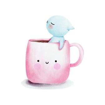 Aquarel kat in een koffiekopje