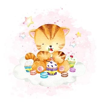 Aquarel kat met cake op de wolk