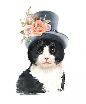 Aquarel kat met hoge hoed en bloem.