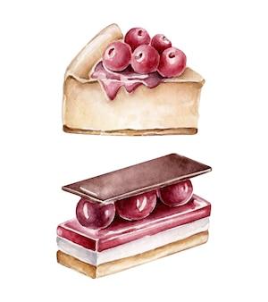 Aquarel kersen dessert. stuk taart versierd met kersen. kersencake