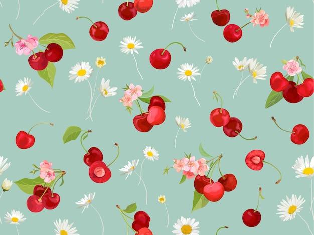 Aquarel kersen naadloze patroon. zomer bessen, fruit, bladeren, bloemen achtergrond. vectorillustratie voor lentedekking, tropische behangtextuur, achtergrond, huwelijksuitnodiging