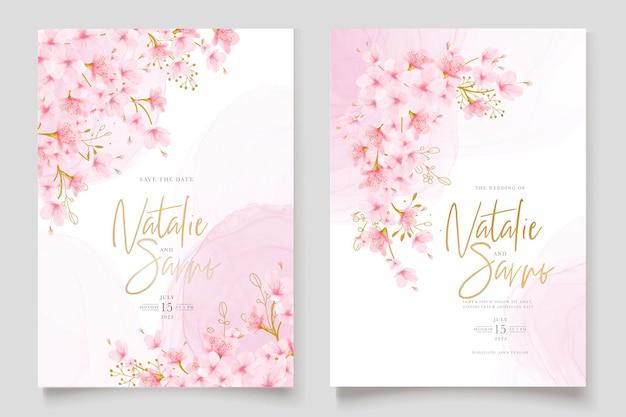 Aquarel kersenbloesem bloemen en bladeren kaartenset