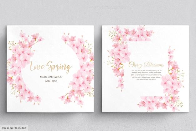 Aquarel kersenbloesem bloemen uitnodigingskaart