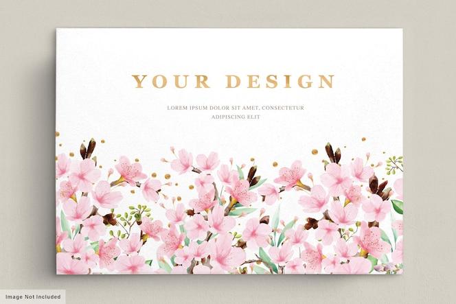 aquarel kersenbloesem uitnodiging kaartsjabloon