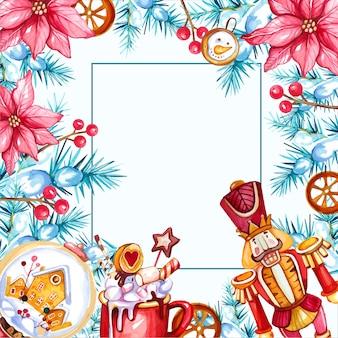 Aquarel kerst achtergrond met notenkraker en warme drank