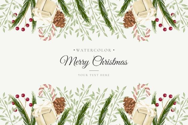 Aquarel kerst achtergrond met schattige decoratie