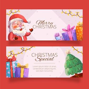 Aquarel kerst banners sjabloon