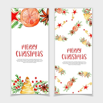 Aquarel kerst banners