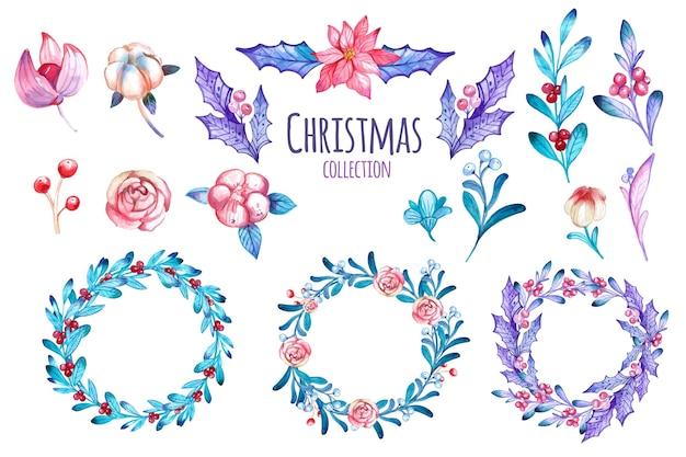 Aquarel kerst bloem en krans collectie