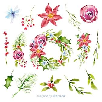 Aquarel kerst bloem & krans collectie
