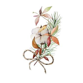 Aquarel kerst bloemenboeket met katoen en pijnboomtakken.