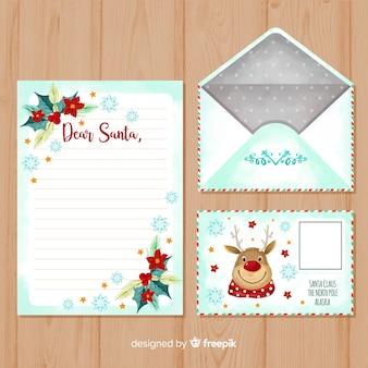 Aquarel kerst brief en envelop sjabloon