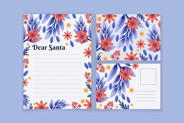 Aquarel kerst briefpapier sjabloon collectie