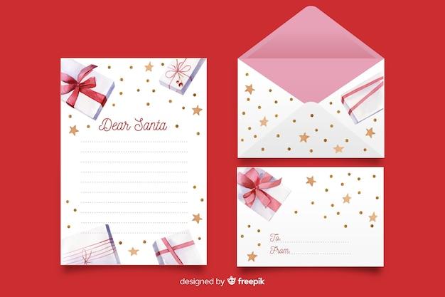 Aquarel kerst briefpapier sjabloon met geschenken