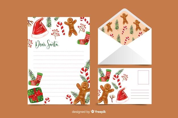 Aquarel kerst briefpapier sjabloon met peperkoek