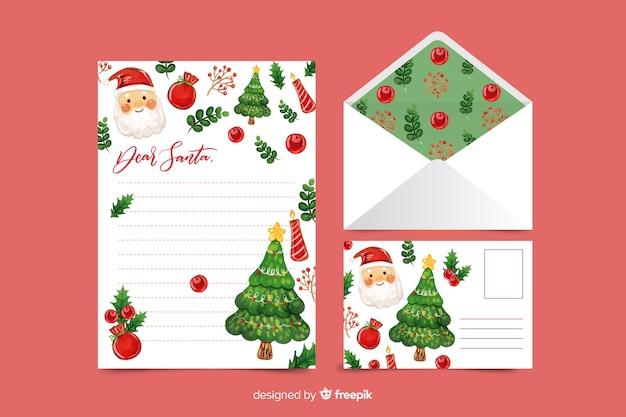 Aquarel kerst briefpapier sjabloon met santa