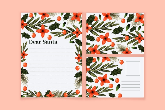 Aquarel kerst briefpapier sjabloon set