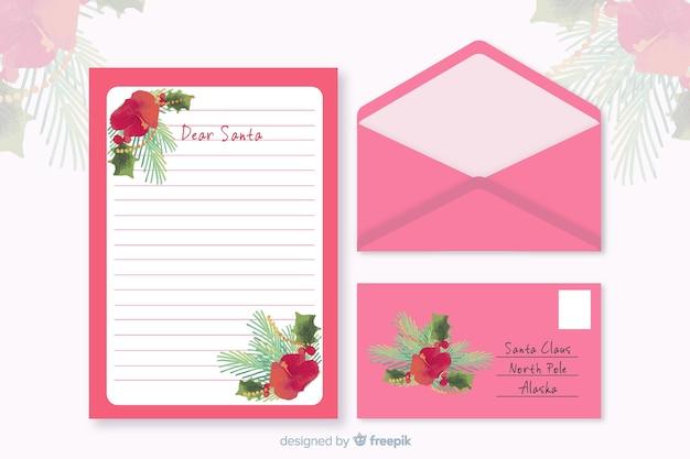 Aquarel kerst briefpapier sjabloon