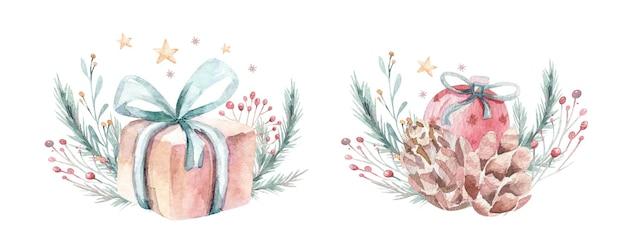 Aquarel kerst compositie