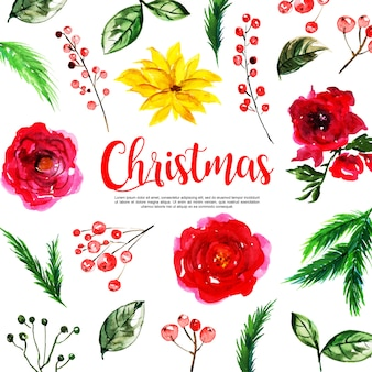 Aquarel kerst element collectie achtergrond