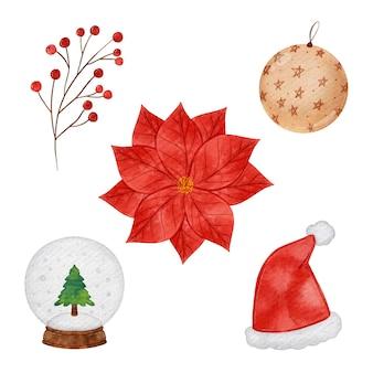 Aquarel kerst element collectie