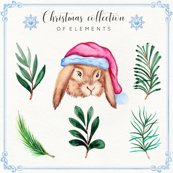 Aquarel kerst element-collectie