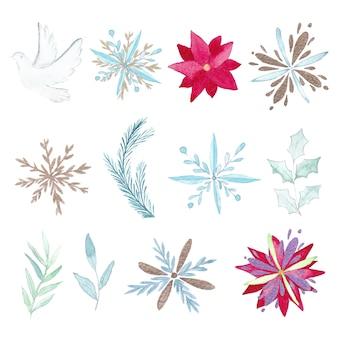Aquarel kerst elementen instellen
