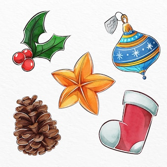 Aquarel kerst elementen pack