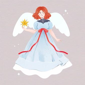 Aquarel kerst engel Gratis Vector